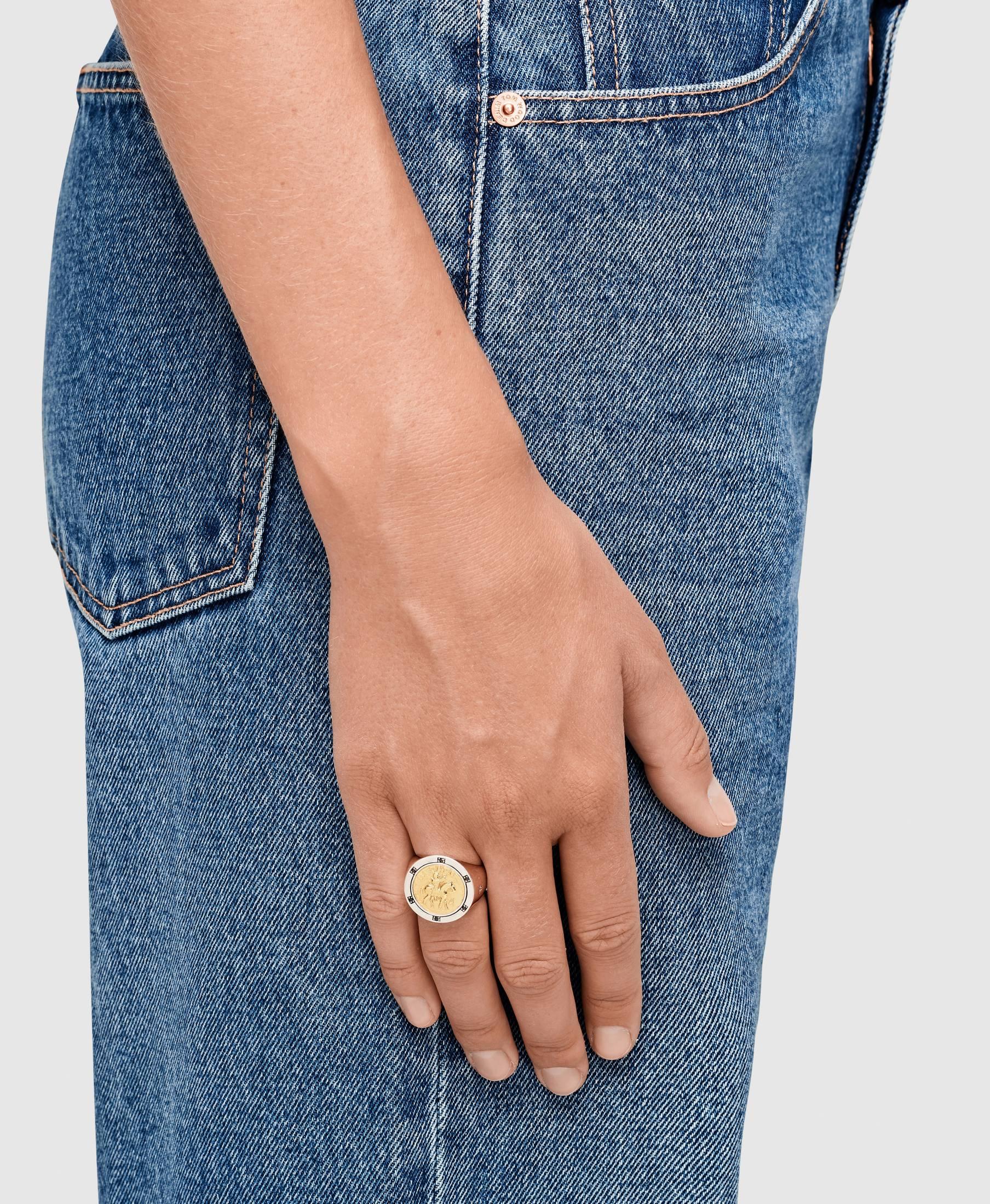 Coin Ring Black Diamond Gold