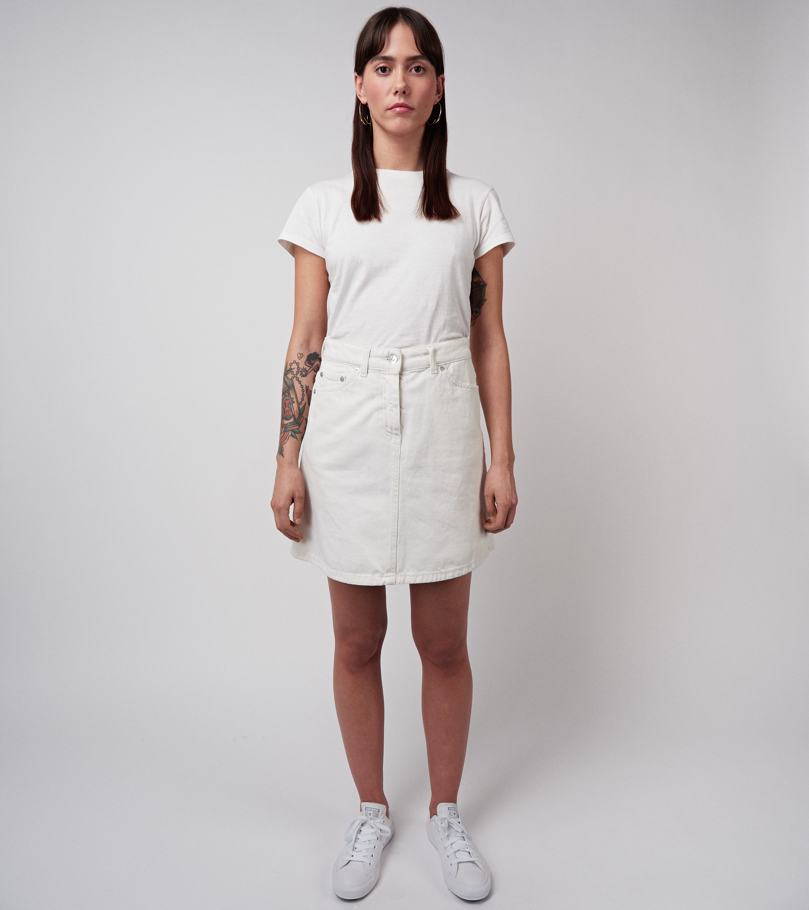 Maiken Denim Skirt Vintage White