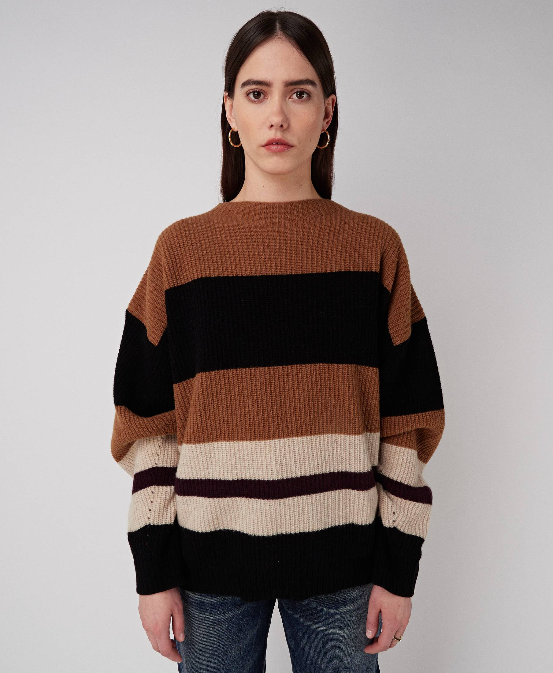 Kara Oversized Sweater Knitted Stripes