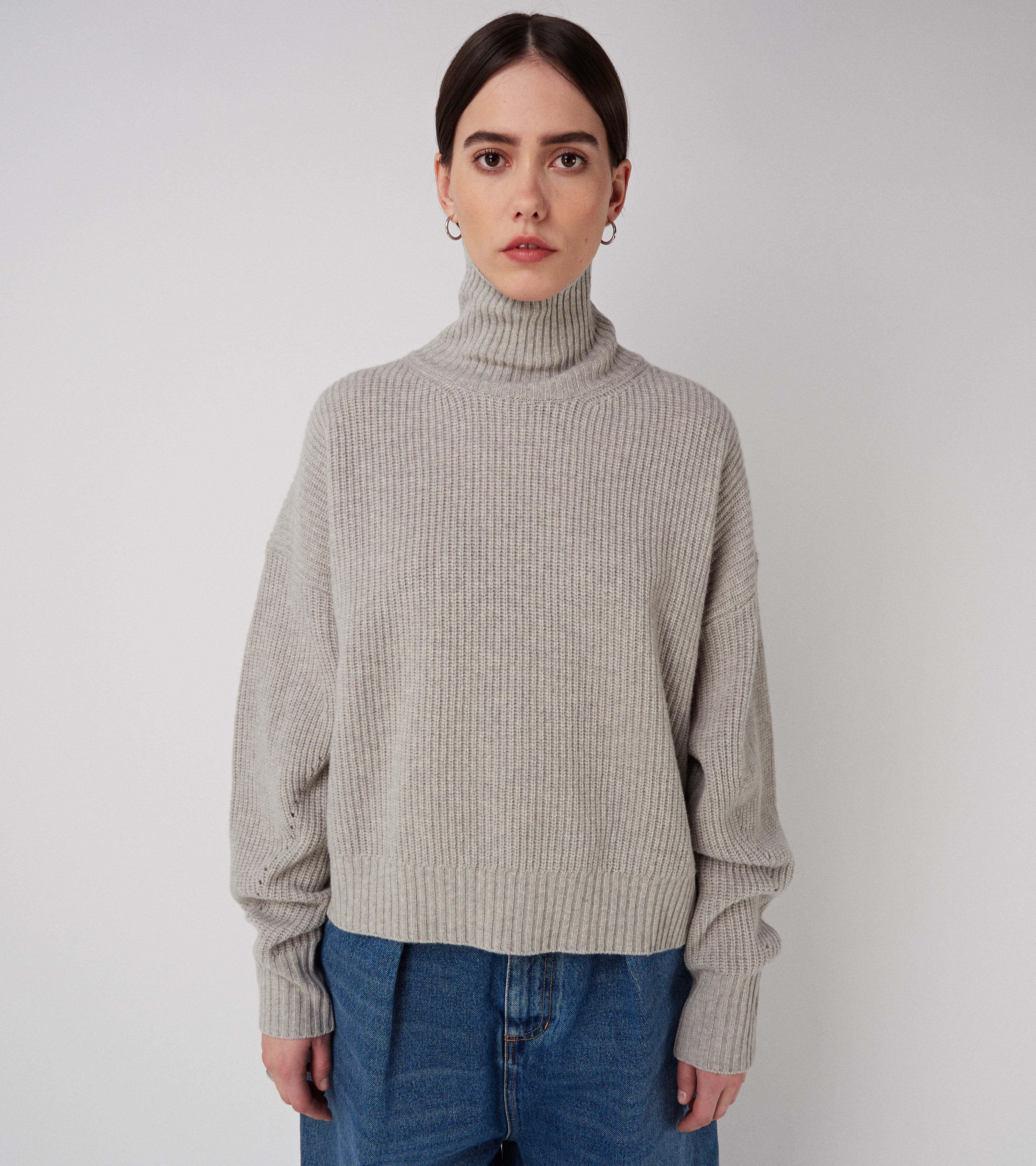 Kara Turtle Sweater Grey Melange