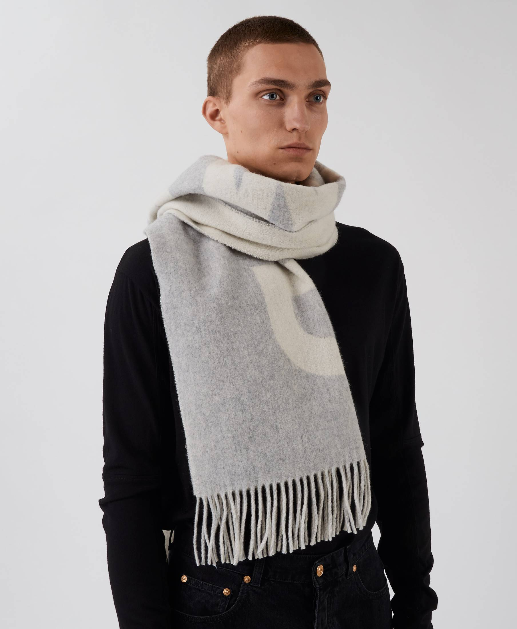 Wood Scarf Logo Grey