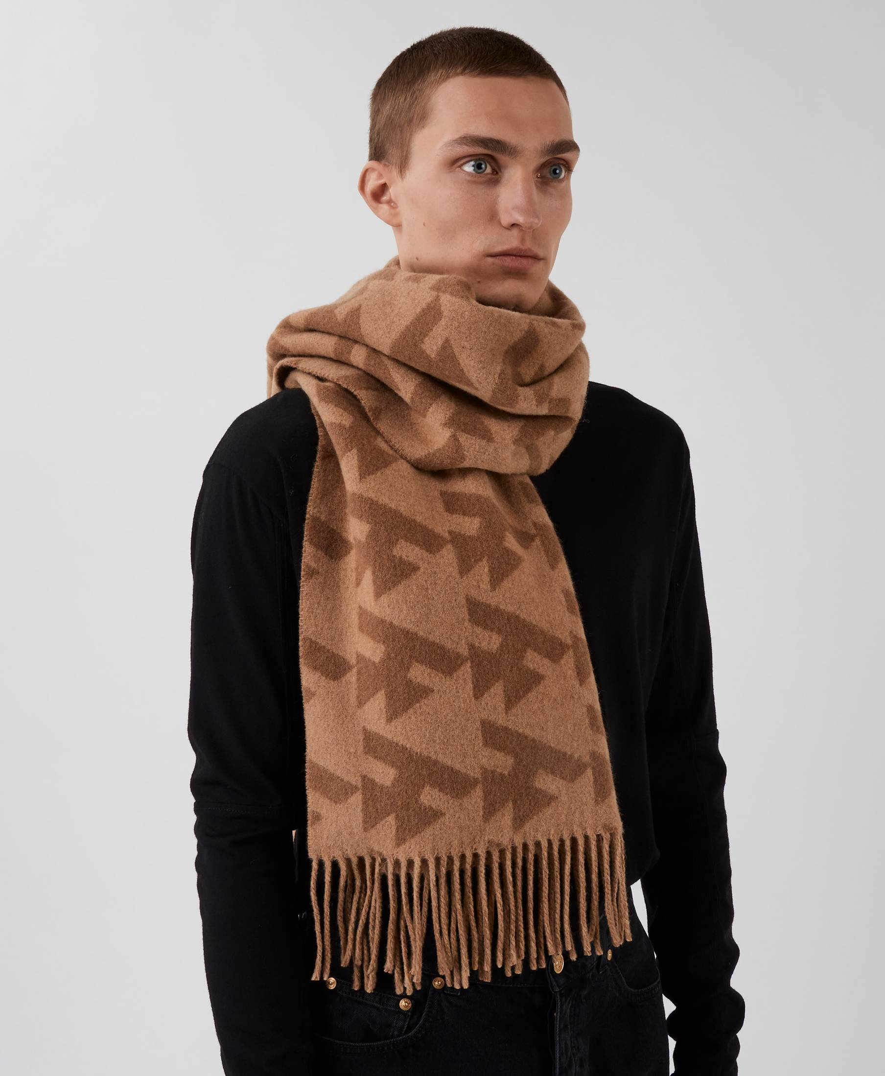 Wood Scarf Dog Tooth Camel
