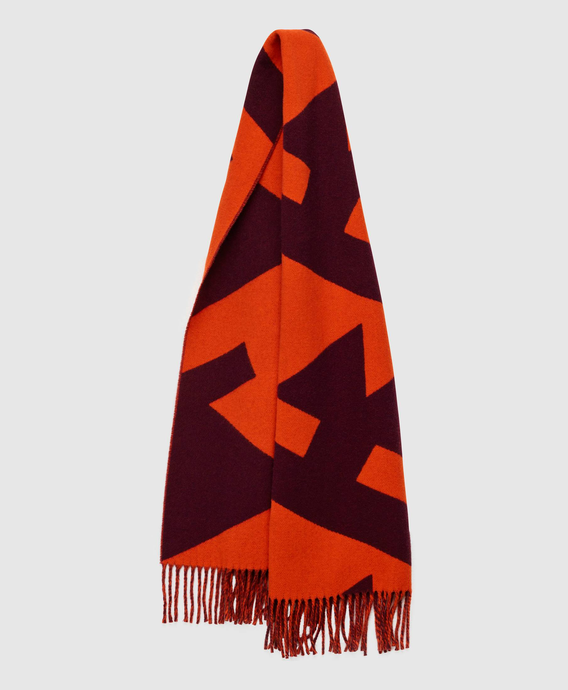 Wood Scarf Logo Print Orange