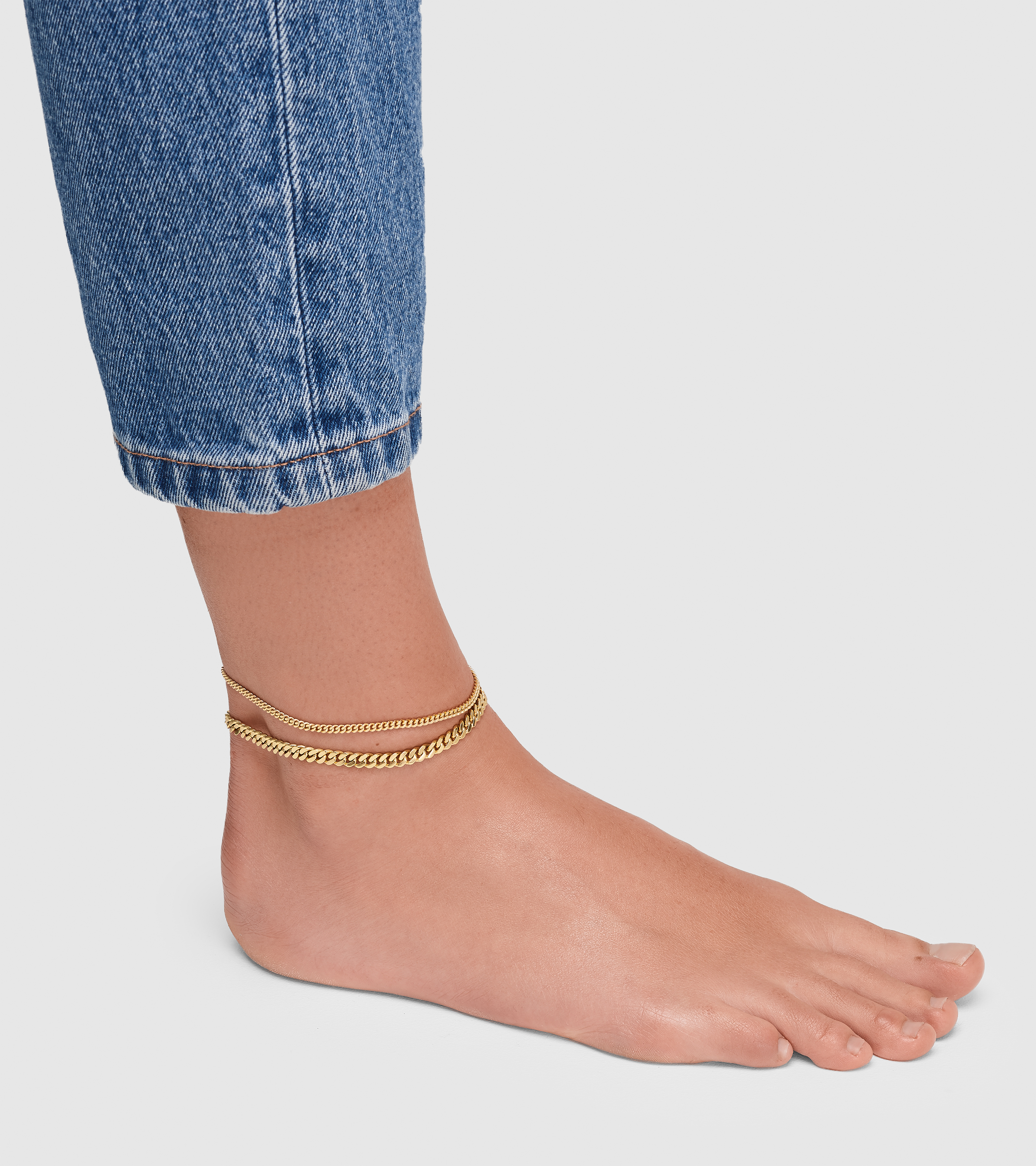 Curb Anklet Slim Gold