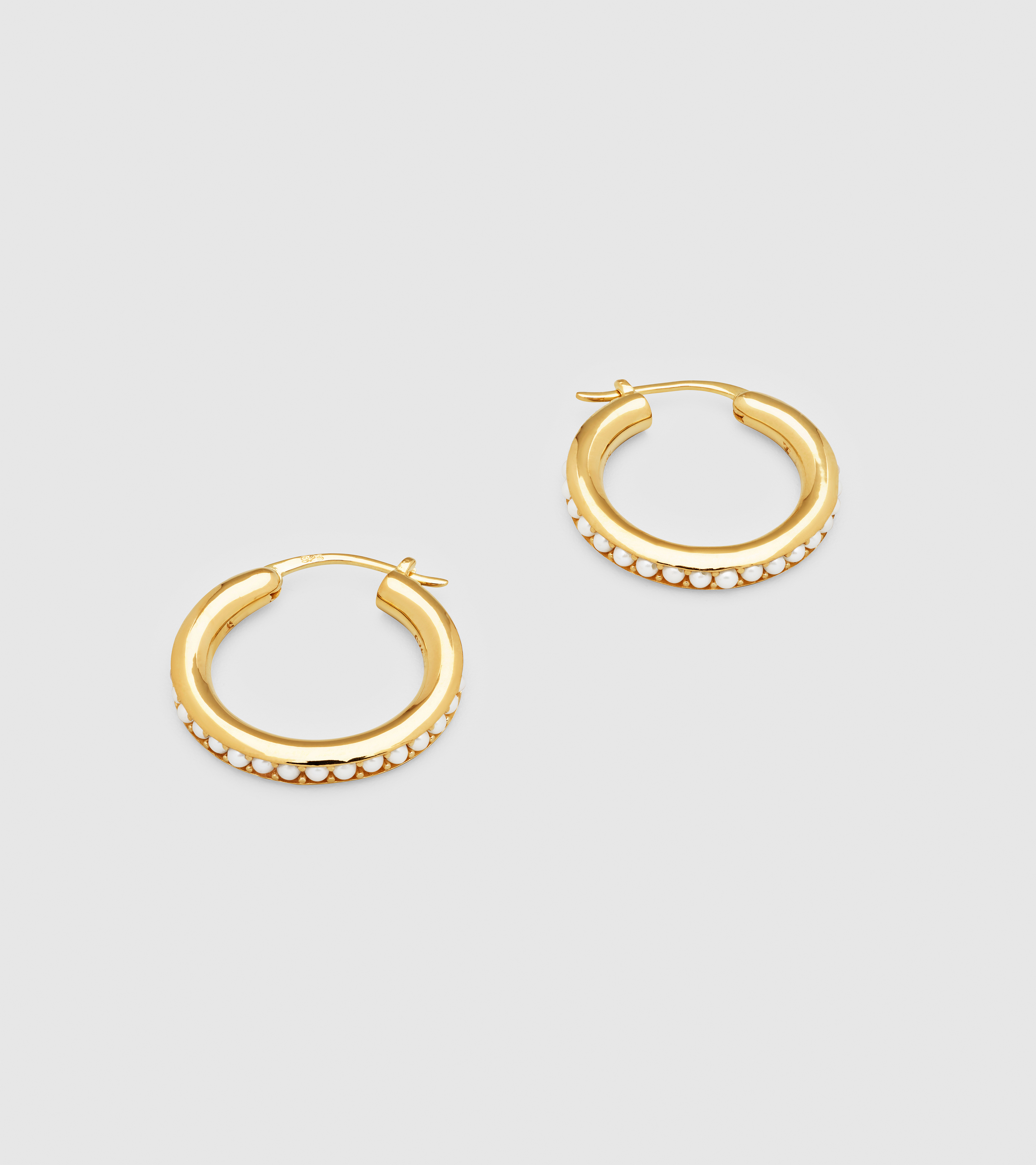 Pearl Hoops Large Gold
