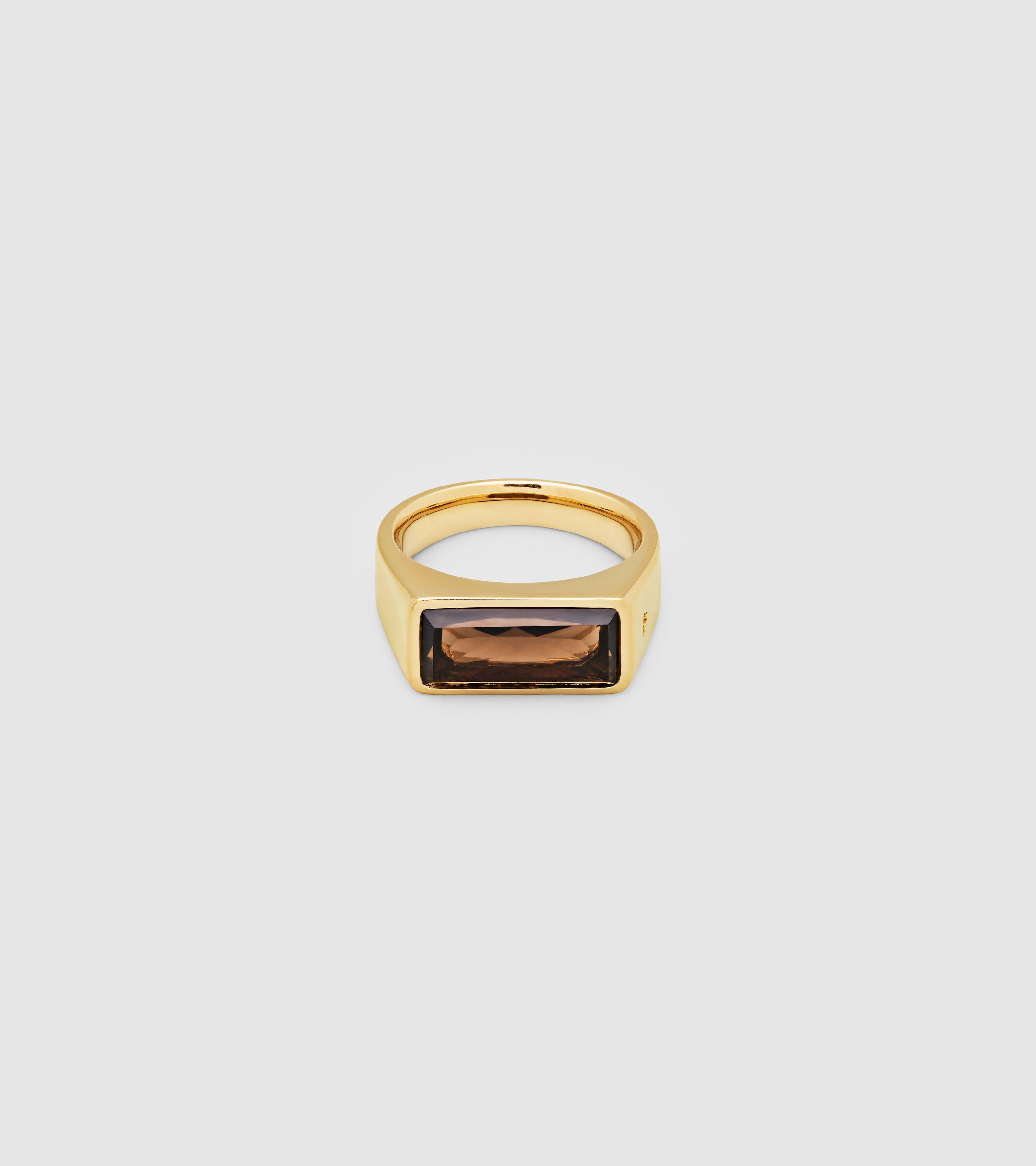 Peaky Ring Smoky Quartz Gold