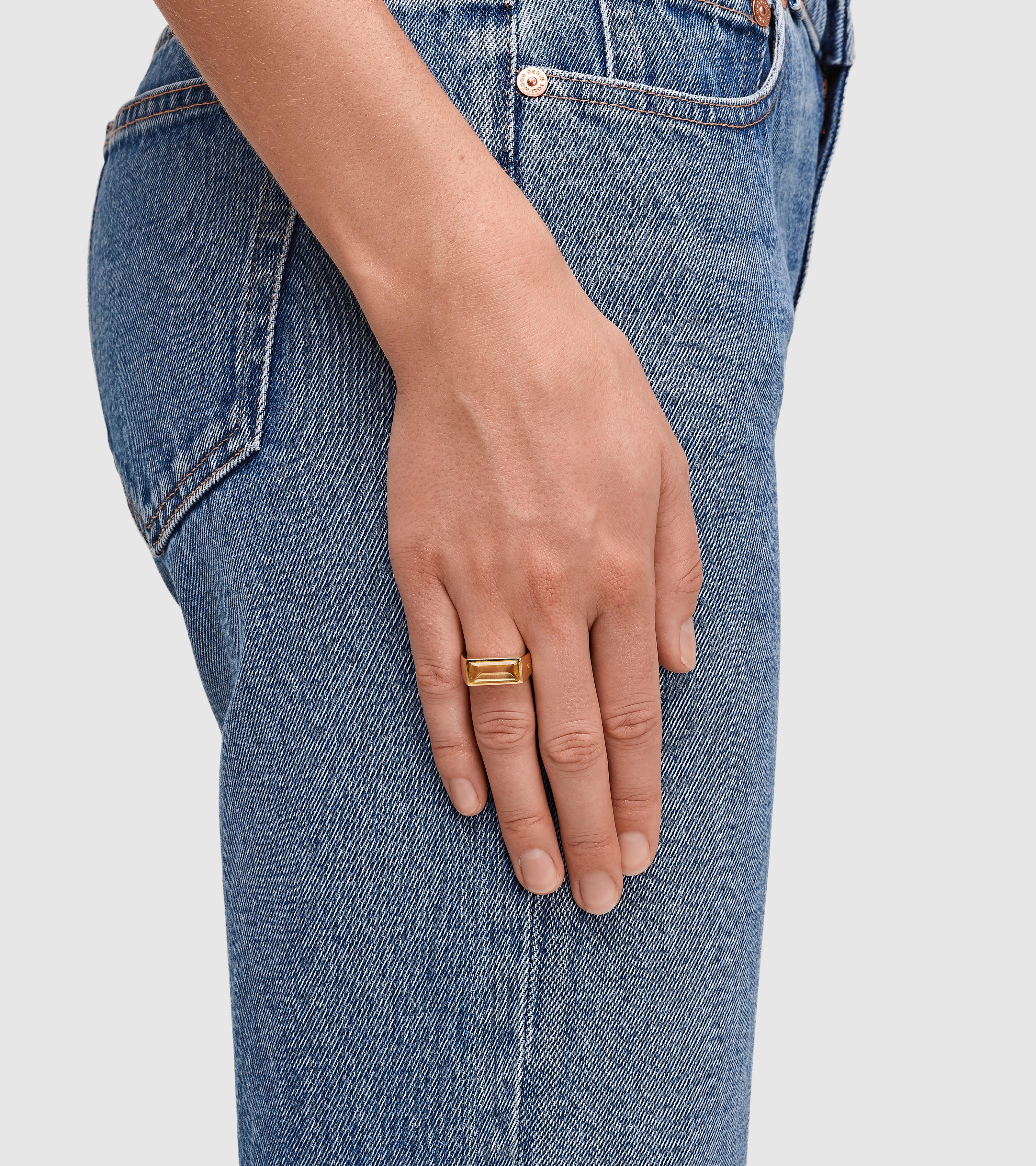 Peaky Ring Orange Amber Gold