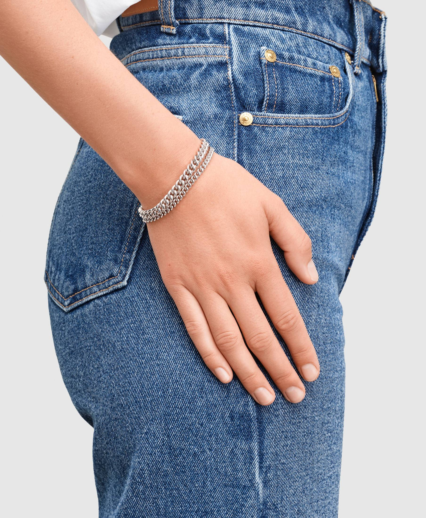 Rounded Curb Bracelet Thin