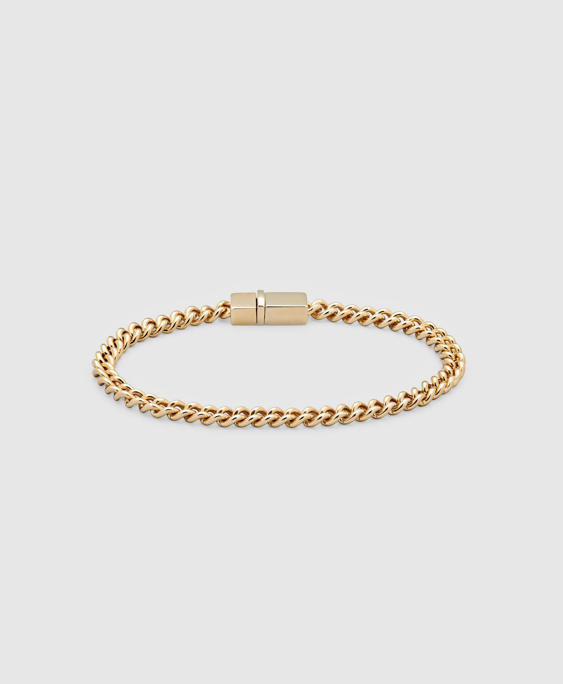 Rounded Curb Bracelet Thin Gold