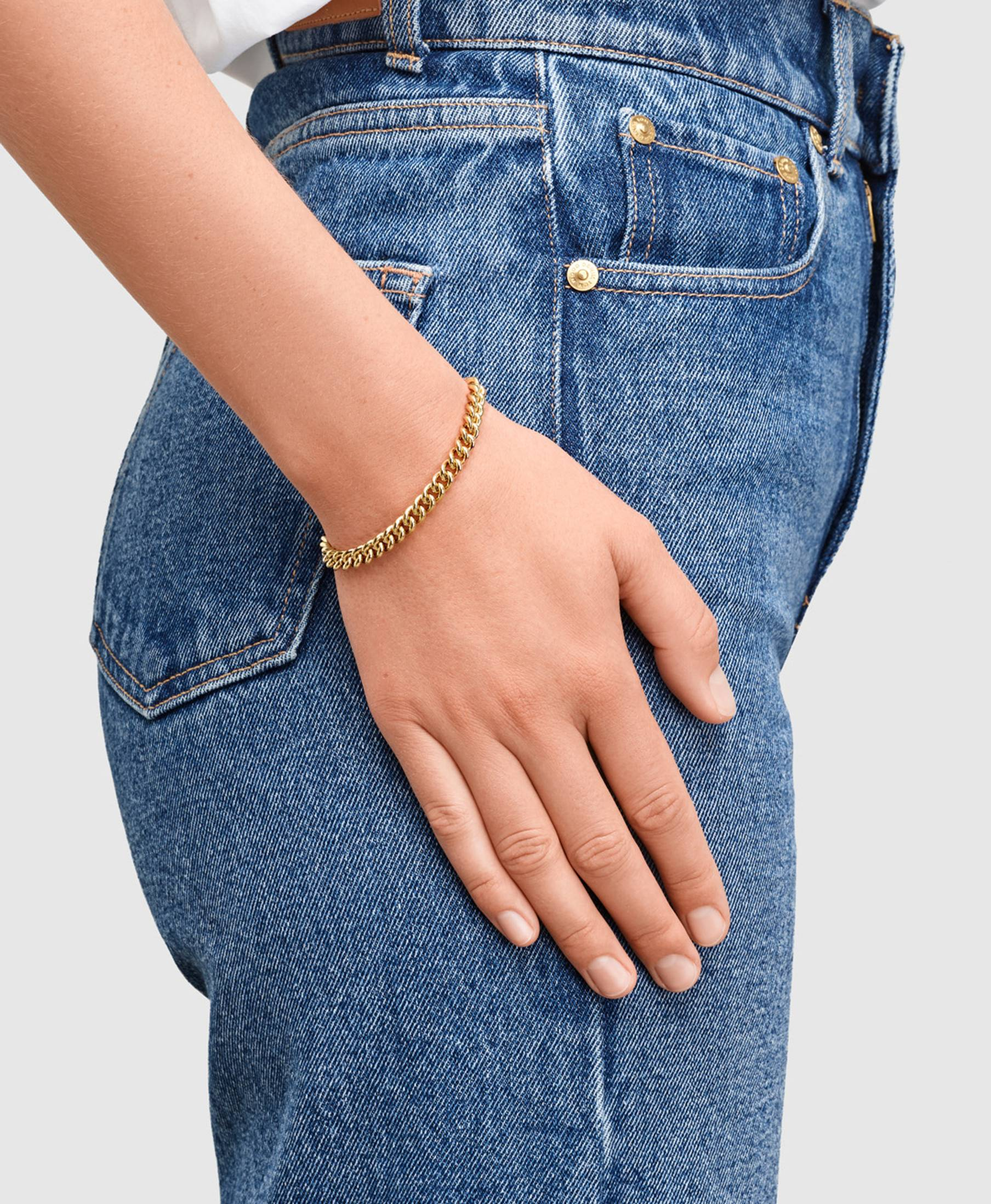Rounded Curb Bracelet Thick Gold