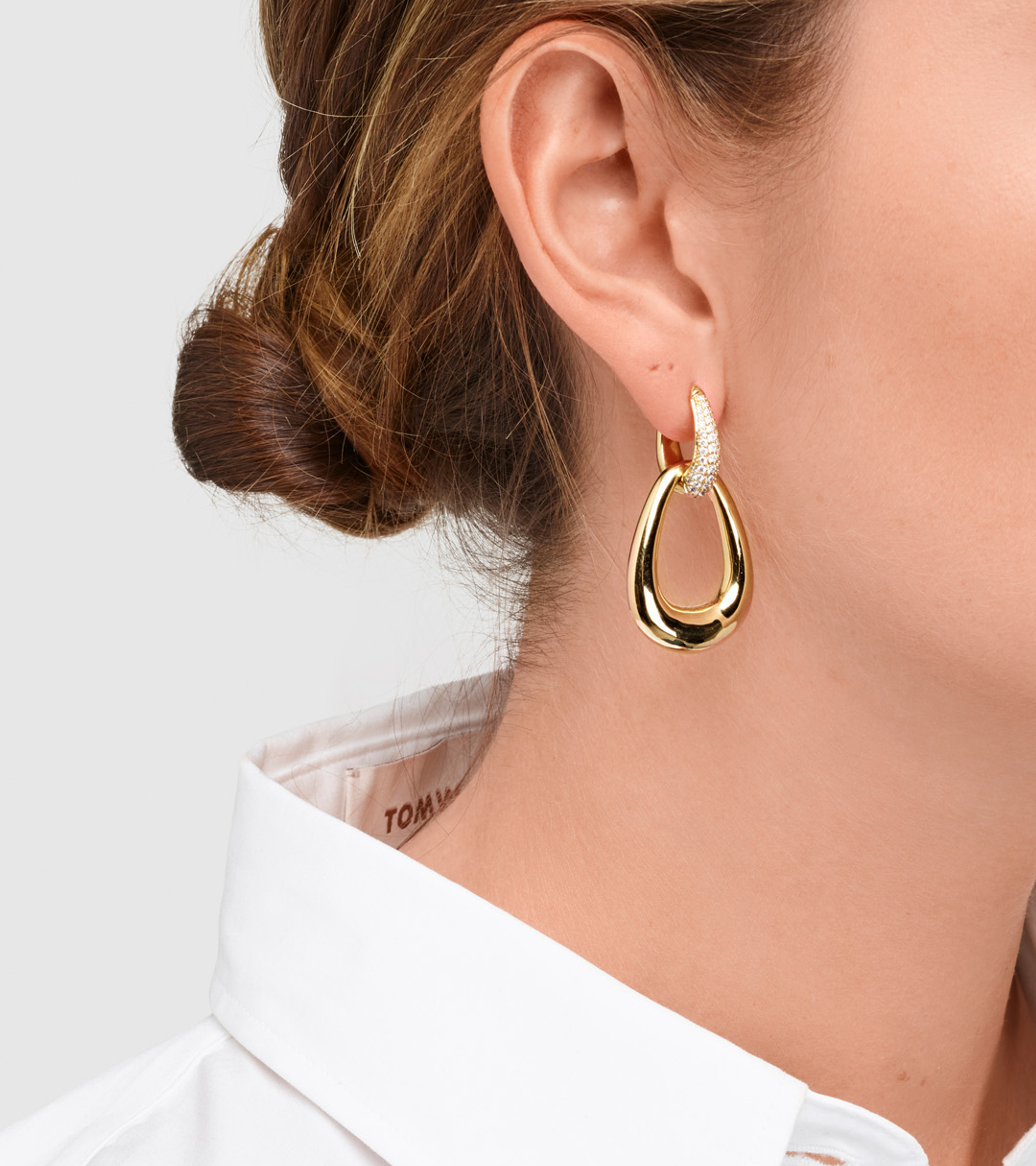 Liz Hoops Double Pave Gold