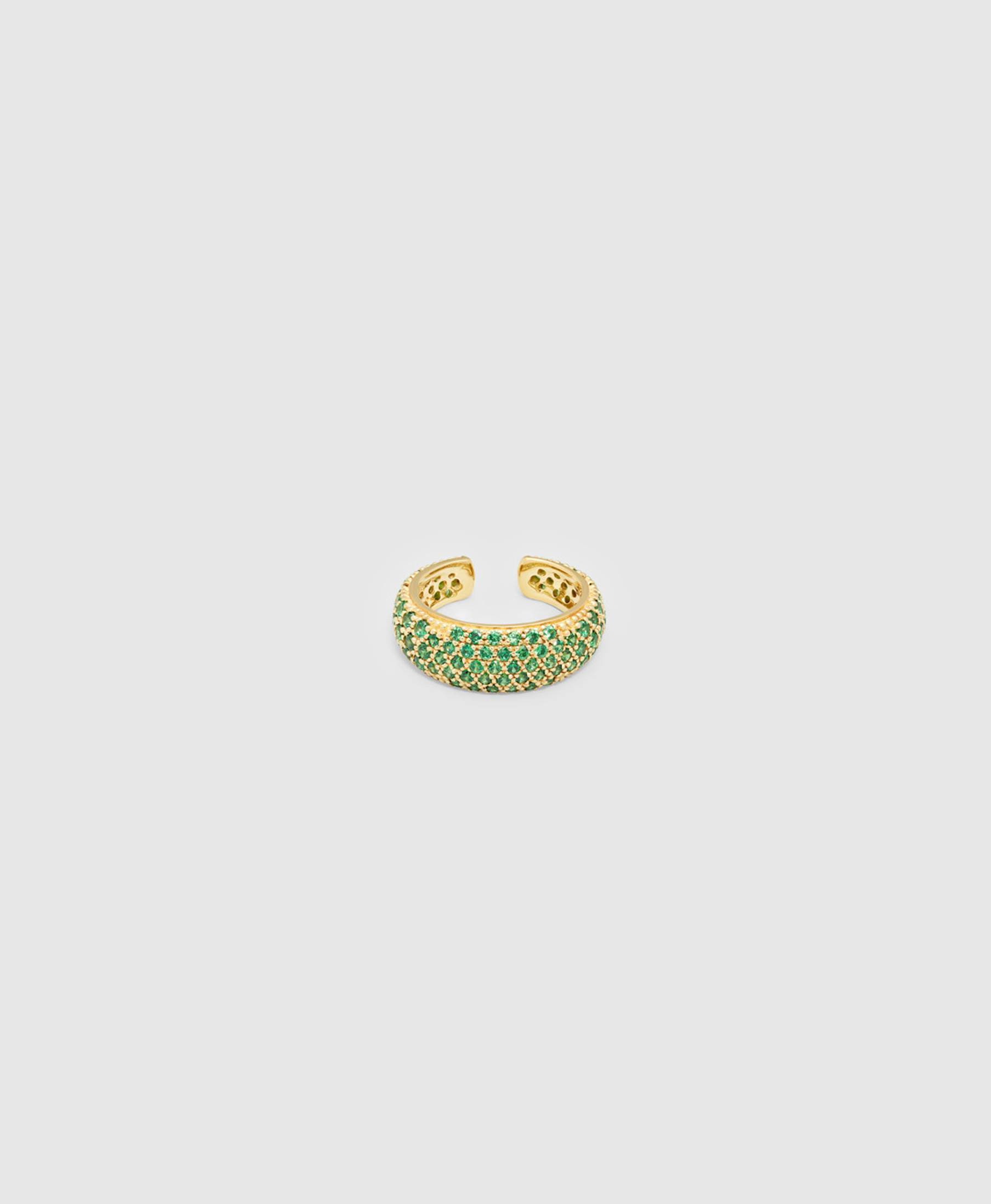 Ear Cuff Thick Forrest Green Gold