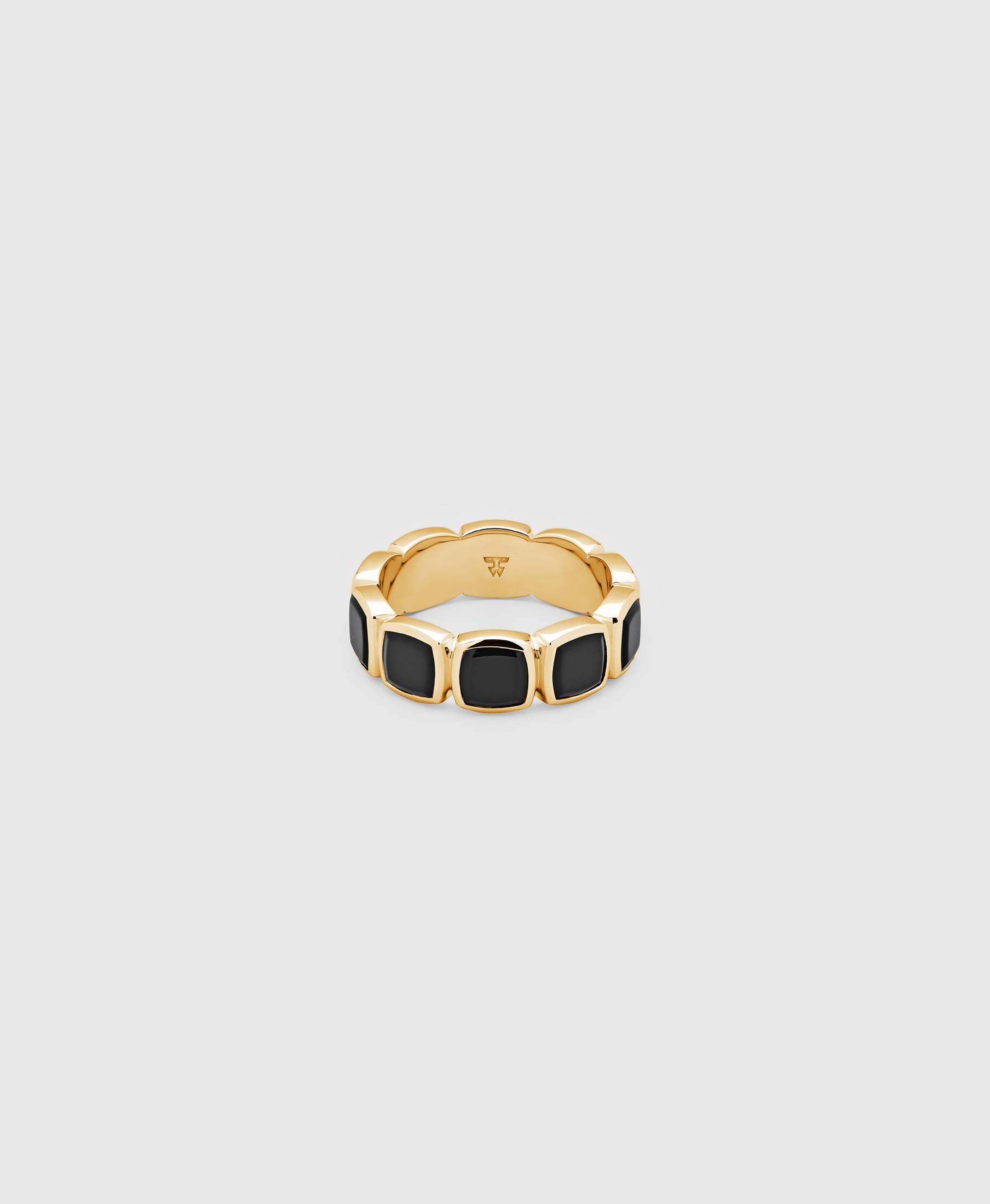 Cushion Band Polished Onyx Gold