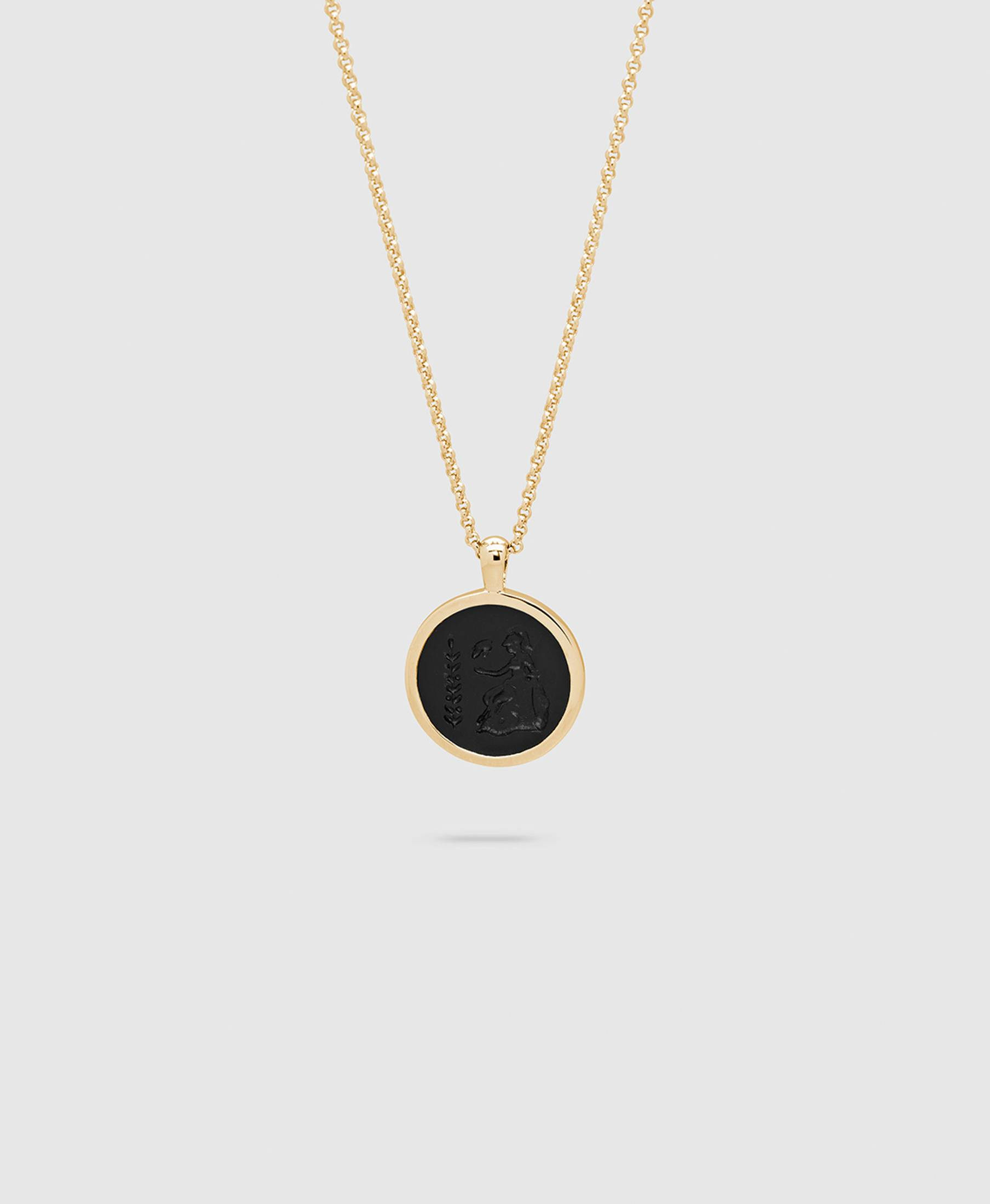 Athena Onyx Pendant S Gold