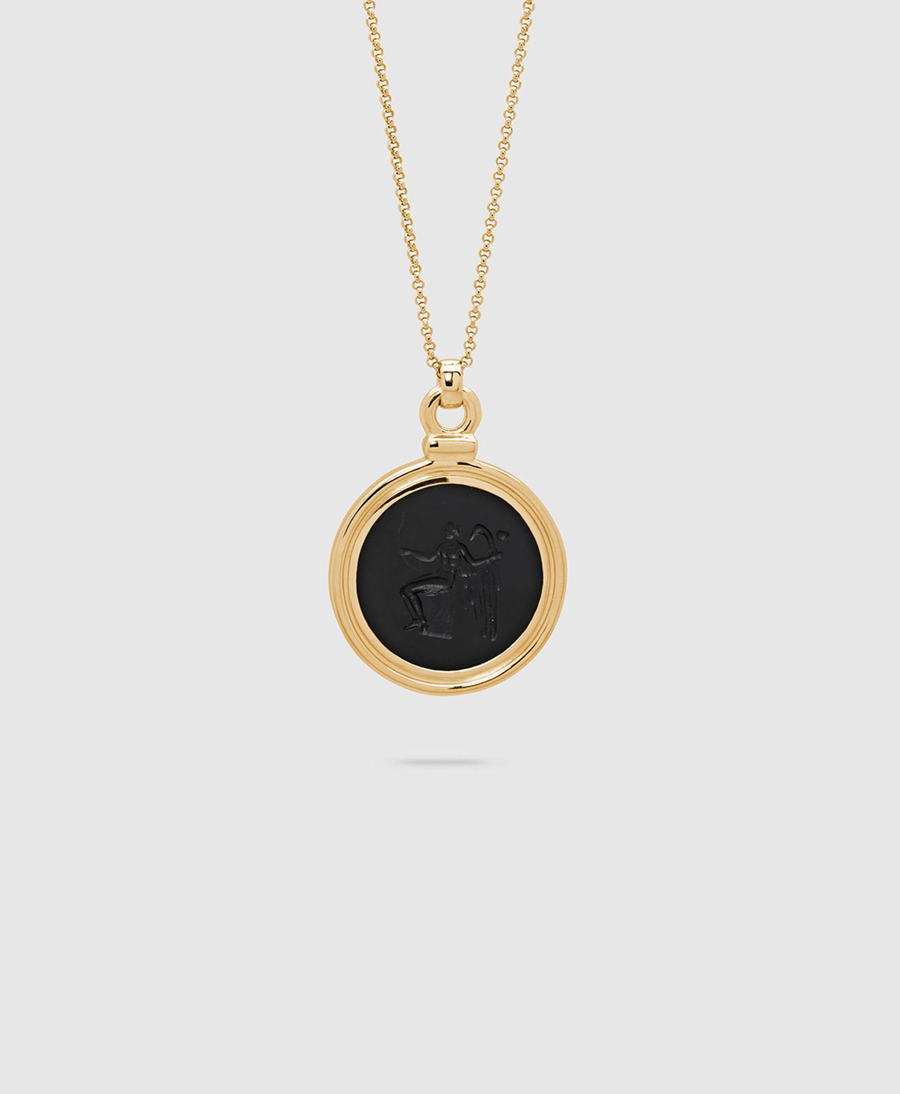 Eros Onyx Pendant L Gold